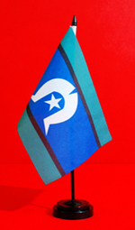 NAIDOC Torres Strait Island Table Flag Stand by Adwareflags.com