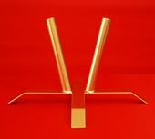 Flagpole Stand Base Indoor Twin Flagpole Holder - Steel Gold