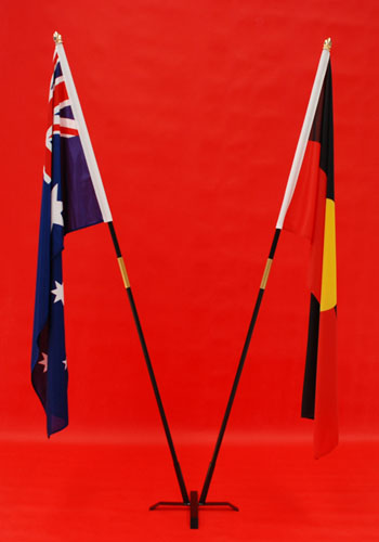 Twin 2 Indoor Flagpoles & Stand Australian & Aboriginal Flags - Knitted Polyester 1800mm x 900mm By Adwareflags.com