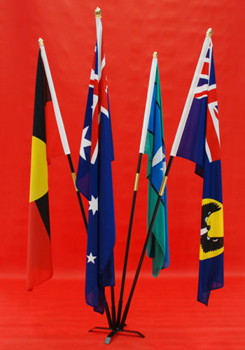 4 Flagpole Indoor Flag Stand Australian, Aboriginal, Torres Strait Island, South Australian Flags 1800mm x 900mm By Adwareflags.com
