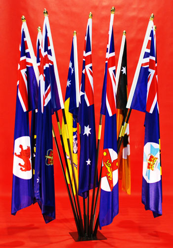 Simply Stunning Indoor Flagpole Set ANF & Australian State & Territorial Flags VIC, NSW. ACT, QLD, NT, WA, SA, TAS High Quality Printed Flags By Adwareflags.com