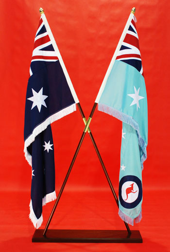 Crossed Flags Inside Crossed Over Flagpoles Stand Highest Quality Fully Sewn ANF & RAAF Ensign 1800mm x 900mm By Adwareflags.com