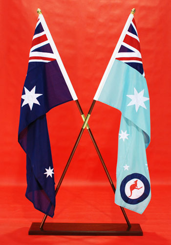 Crossed Over Flagpoles Crossed Flags Fully Sewn ANF & RAAF Ensign 1800mm x 900mm By Adwareflags.com