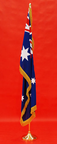 Flagpole Indoor Set Highest Quality All Gold Fitted Woven ANF & Fine Gold Metalic Flag Fringe By Adwareflags.com