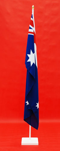 White Timber Indoor Flagpole and Stand Highest Quality Woven Australian National Flag 1800mm x 900mm By Adwareflags.com