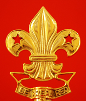 "Scouts Flag Pole Fleur de Lis ""Be Prepared"" Polished Brass"