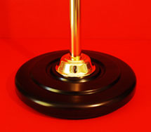 Indoor Flagpole Base Round Walnut Gold Collar Gold Anodised Pole