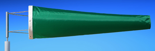 Highest Quality Industrial Windsocks Green 4 FT - 6 FT - 8 FT - 12 FT  UVR Flame Retardant Anti Static Chemical Resistant Windsock Stainless Steel Eyelets By Adwareflags.com Australia